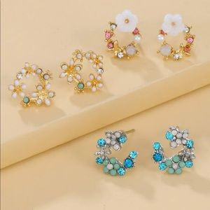 New 3 pairs Faux Pearl Flower Decor Stud Earrings